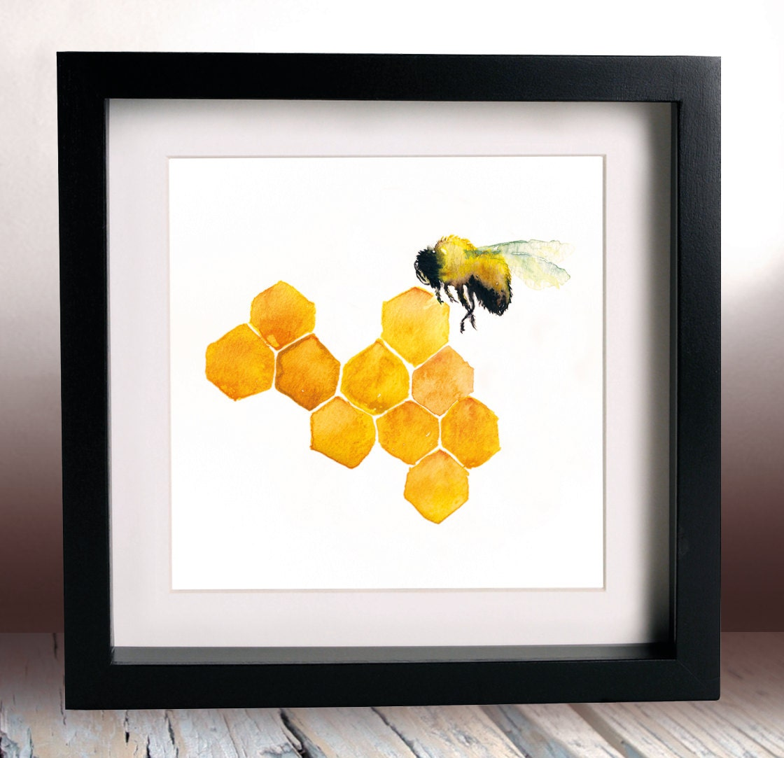 honey bee kitchen accessories honey bee watercolour painting print 6x6 inches kitchen 4321